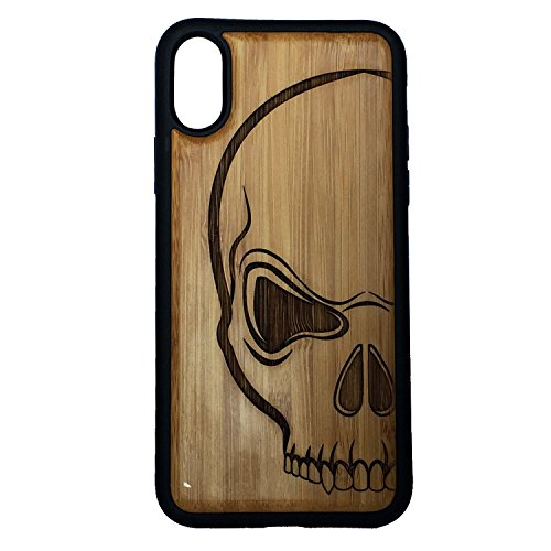 Skull Phone Case Cover for iPhone XR by iMakeTheCase | Eco-Friendly Bamboo Wood Cover + TPU Wrapped Edges | Scary Human Skull and Bones Tattoo Art | Biker Harley Pirate ()