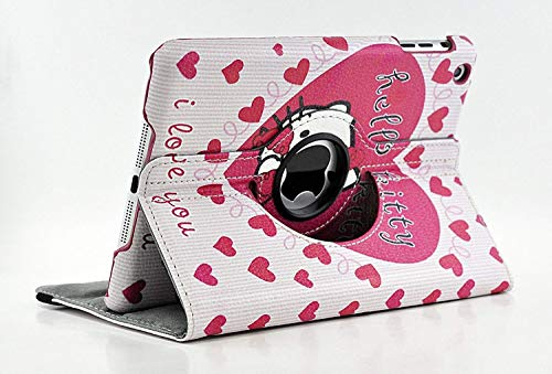 iPad Mini 3 2 1 Case Cover, Hello Kitty Design 360 Degree Rotating PU Leather Hard Case for Apple iPad Mini 3 2 1 Generation Model no. A1432 A1454 A1455 A1489 A1490 A1491 A1599 1600 A1601 (Pink)