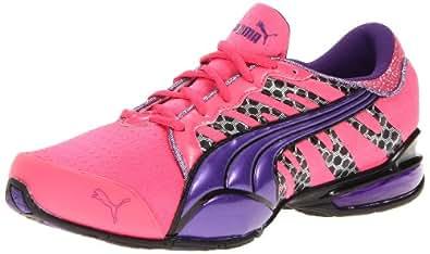 PUMA Women's Voltaic 3 Glitz Running Shoe,Fluorescent Pink/Prism Violet/Black,5.5 B US