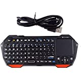 Mini Portable Wireless 10m Remote Bluetooth Keyboard with Multi-Touch Pad Mouse Mice (Black&Red)