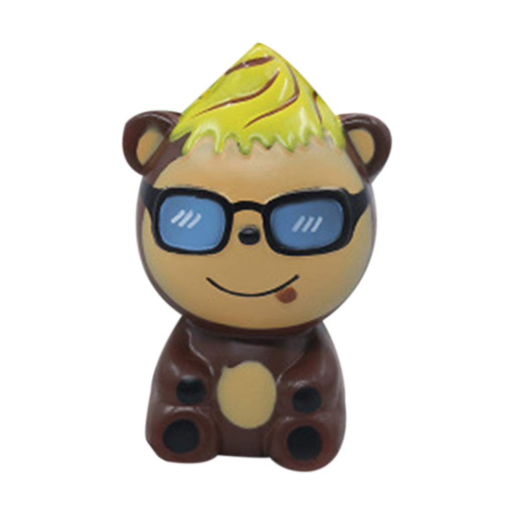Stress Reliever Simulated Cute Bear Scented Super Slow Rising Kids Squeezable Favors for Kids Toy (Brown)