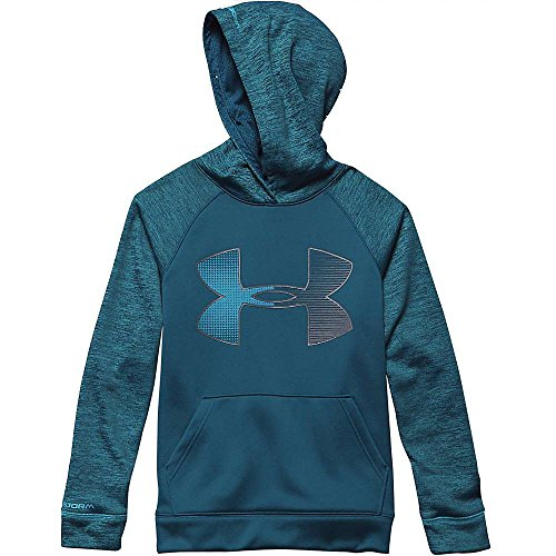 Jumbo Logo Hoody Sweatshirt - Under Armour Boys' Storm Armour Fleece Jumbo Big Logo Hoody Legion Blue / Steel / Pacific XS