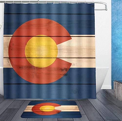 SWEET TANG Waterproof Shower Curtains 72x72 and Bath Rug 18x30 - Vintage Wooden Pattern Colorado Flag Bath Curtain and Doormat - Bathroom Decor Set with Hooks