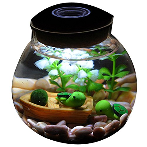 OMEM Aquarium Set - Lifestyle moss balls, seaweed, gravel, doll, boat workbench decoration Valentine gift (1 year old with lights, Small tortoise)