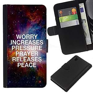 KLONGSHOP // Tirón de la caja Cartera de cuero con ranuras para tarjetas - BIBBIA Aumenti di Worry Pressione - Sony Xperia Z1 L39 //