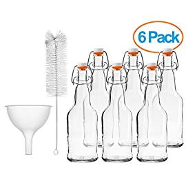 Home Brewing Glass Beer Bottle 6 Pack with Easy Wire Swing Cap & Airtight Rubber Seal with Funnel & Cleaning Brush | Clear | 16oz | by Chef's Star 1 FLIP TOP BREWING BOTTLES - The airtight bottles seal with a plastic, gasket lid and a wire bale allow for a hermetic seal, they arrive assembled and attached to the bottles. Stopper opens and closes easily. REUSABLE WATER BOTTLES - Chef's Star swing top clear glass bottle has a multipurpose uses. From serving water, tea, liquor, kefir or kombucha to storing sauces, vinegar, oil and more. Bottle brush included for easy fast cleaning. HEAVY DUTY GLASS - Each bottle can contain 16 ounces of liquid and is made from an exceptionally durable, pressure-rated amber glass for filtering light and protecting your home brew. Funnel included for easy pouring.