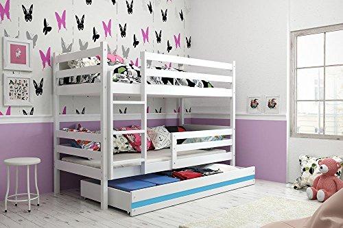 Etagenbett ERYK 190x80cm Farbe weiß inkl. Matratzen und Lattenrost