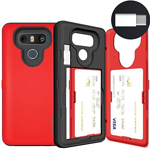 LG G6 Case, LG G6 Card Case, SKINU [USB Type C] [Silver] [Shockproof] [Dual Layer] [Card Slot] [Drop Protection] [Wallet] with Mirror and Adapter for LG G6 - Red