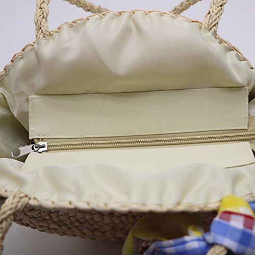 Handbags Top Women Beach Round Summer Straw Purse Handle Shoulder dFpRTWnq