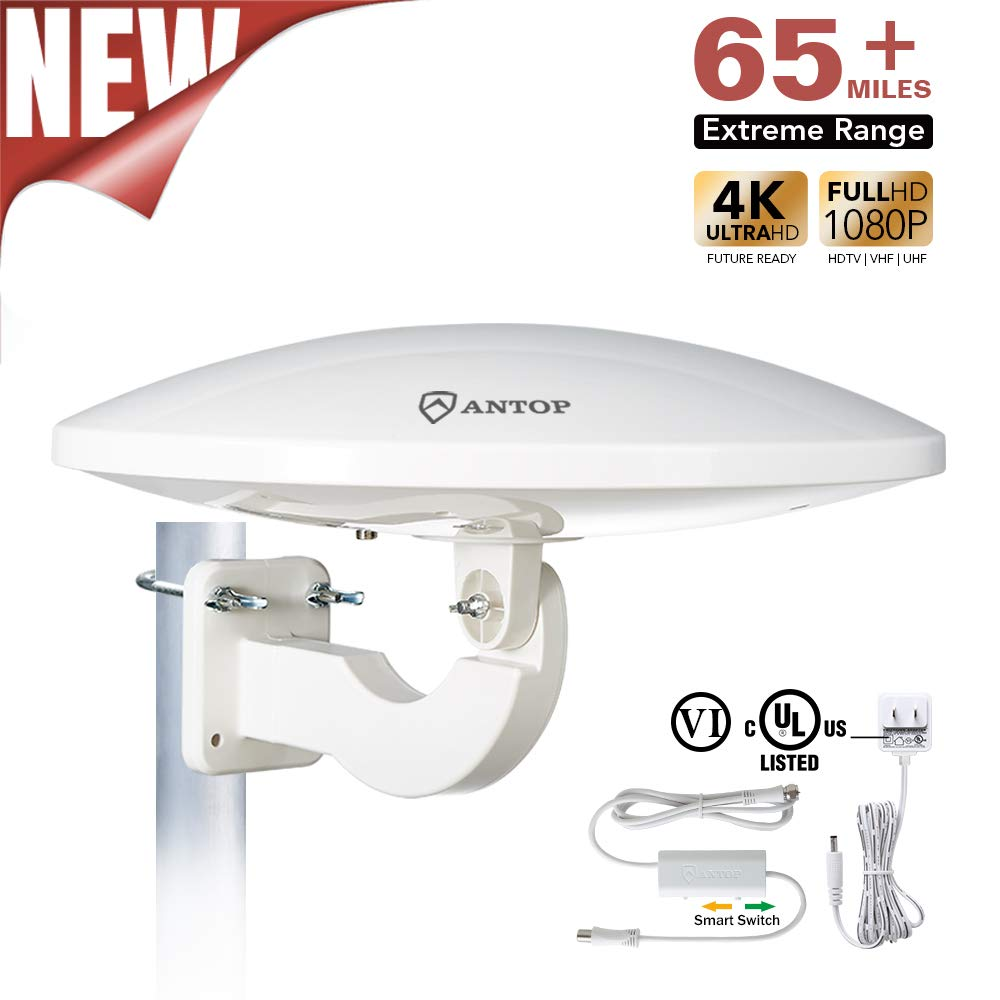 Outdoor HDTV Antenna, ANTOP UFO 360° Omni Directional TV Antenna 65 Mile Range with Smartpass Amplified and 4G LTE Filter for Outdoor, RV, Attic Use(AT-414B)