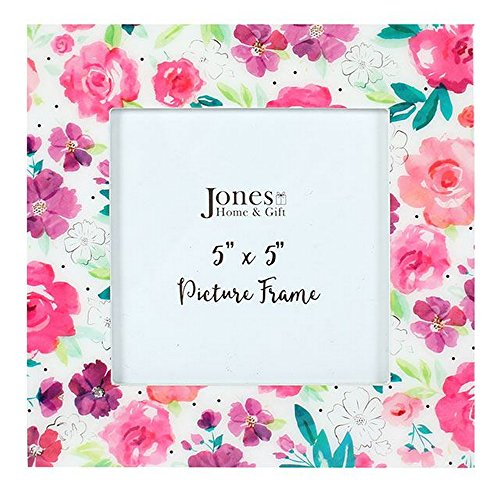 Floral Fusion Square (Something different Floral Fusion Square Picture Frame (5 x 5in) (One Size) (Pink/White))