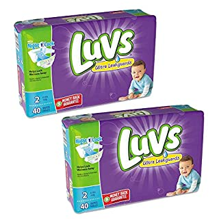 Luvs Ultra Leakguards Diapers Size 2, 40 Count (Pack of 2)