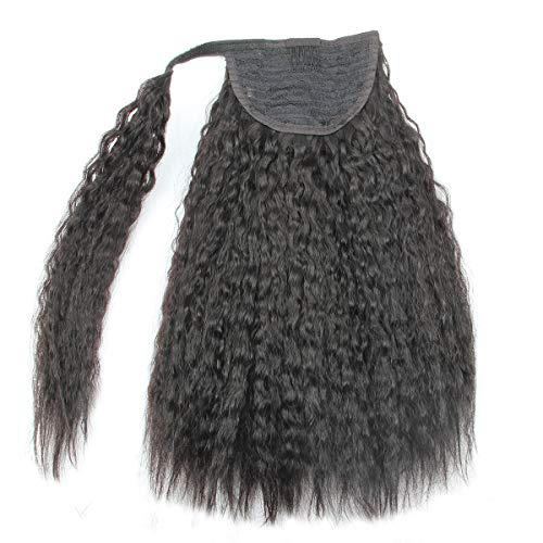 14inch Kinky Straight Human Hair Ponytail Extension Wrap Around Kinkys Straight Clip in Yaki Coarse Human hair Ponytail Extensions (14 inch)