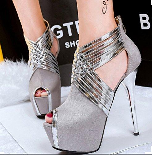 Pour Plateau Chaussures Lsj 028 Sandales Lsj Femme Haut 031 Talon Argent Gris ZX85rT8q