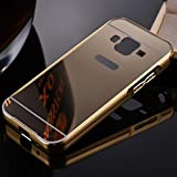 Creazy® Mirror Cover Metal Frame Case For Samsung Galaxy Core Prime Prevail LTE G360 (Gold)