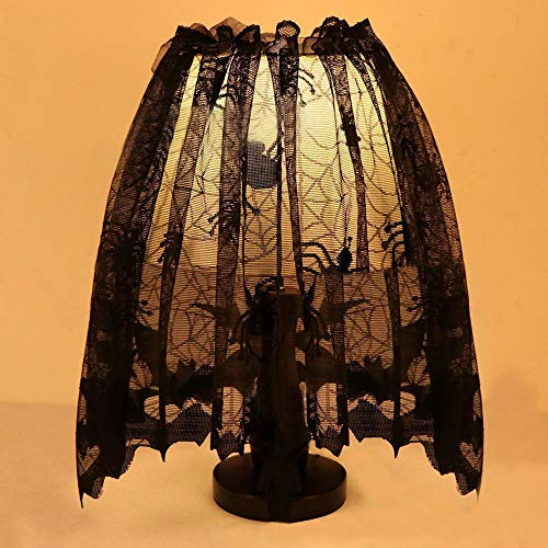 Dreamyth Halloween Knitted Curtain Lamp Cover Black Spider Bat Lace