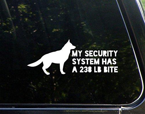 "My Security System Has A 238LB Bite (German Shepherd) - 8-3/4"" x 3-1/2"" - Vinyl Die Cut Decal/Bumper Sticker for Windows, Cars, Trucks, Laptops, Etc."