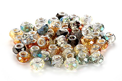 (BRCbeads Top Quality 50Pcs Mix Silver Plate FACETED STYLE3 AB COLOR Murano Lampwork European Glass Crystal Charms Beads Spacers Fit Troll Chamilia Carlo Biagi Zable Snake Chain Charm)