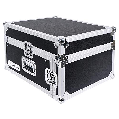 Sound Town 4-Space PA/DJ Pro Audio Rack/Road Case with Slant Mixer Top ()