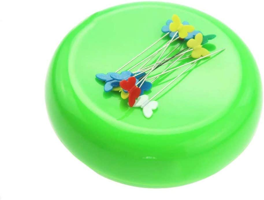 Exceart Magnetic Sewing Pincushion Round Pins Caddy Push Pins Holder Sewing Quilting Pins Storage Holder Sky-Blue
