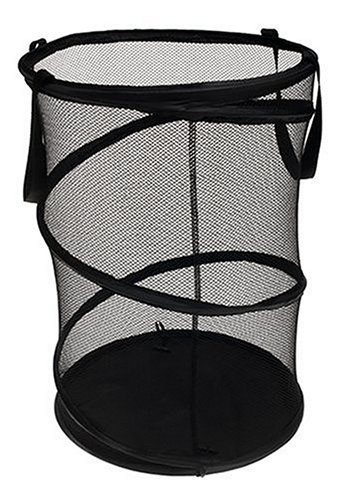 Collapsible mesh laundry hamper in black.