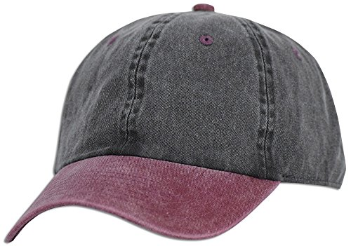JLGUSA Dad Hat Pigment Dyed Two Tone Plain Cotton Polo Style Retro Curved Baseball Cap (Black/Burgundy)