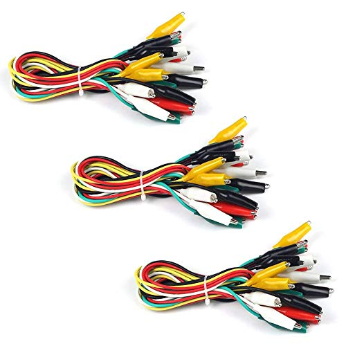 UCTRONICS Alligator Clip Test Leads - 30 Pieces, 20 Inches, Gator to Gator, 3 Packs, 5 Colors - Double Ended Jumper Wires for Arduino and Raspberry Pi Projects
