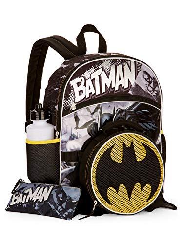 Batman Backpack, Lunch Box, Water Bottle, Pencil Case & Carabiner Set