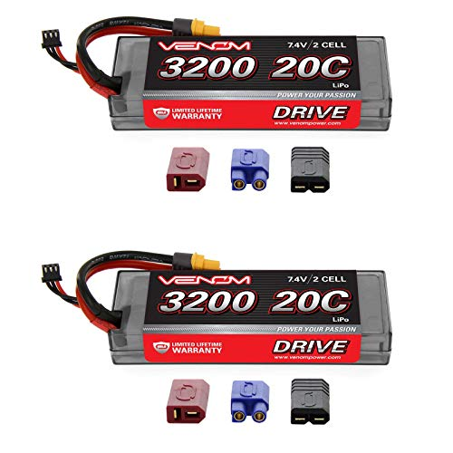 Venom 20C 2S 3200mAh 7.4V Hard Case LiPo Battery with Universal Plug (EC3/Deans/Traxxas/Tamiya) x2 Packs