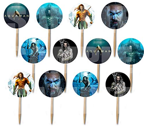 Aquaman Aqua Man Cupcake Picks Double-sided Images Cake Topper -12, Comics Super -