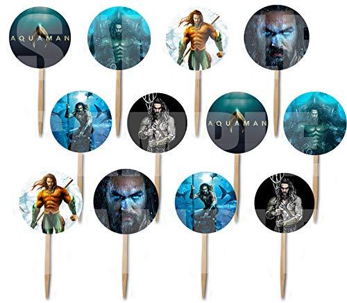 - Aquaman Aqua Man Cupcake Picks Double-sided Images Cake Topper -12, Comics Super Hero