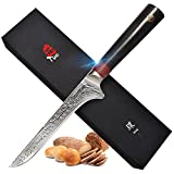 TUO Cutlery Boning Fillet Knife 6 inch, Japanese AUS-10 High Carbon Rose Damascus Steel, Kitchen Knife with Ergonomic G10 Handle - Ring R Series