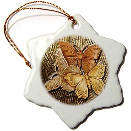 3dRose Embossed Background with Accents and Three Beautiful Butterflies in Golds, Yellows and Copper Snowflake Ornament, 3