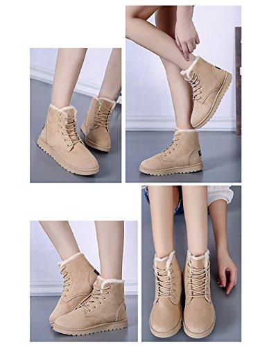 Scarpe Da Donna Eshion Inverno Caldo Alla Caviglia Con Lacci Da Neve Scarpe Sneaker Con Plateau Piatte Beige