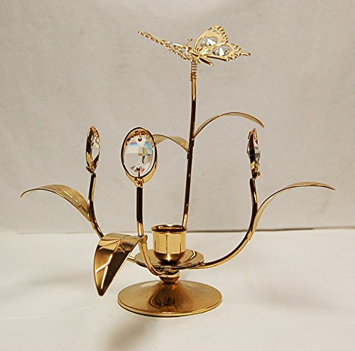 Antique Flower w/Butterfly Taper Holder - 24k Gold Plated with Clear Swarovski Austrian Crystal ()