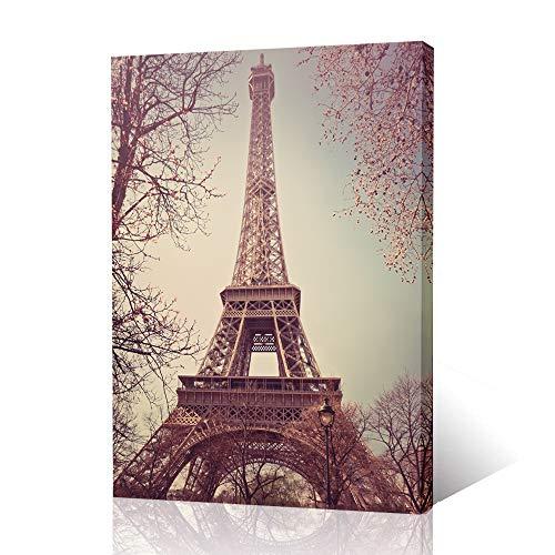 Vintage Paris Eiffel Tower Flower Branches Retro Architecture Canvas Wall Art Prints,Framed ()