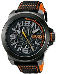 BOSS Orange Mens NEW YORK Quartz Resin and Canvas Casual Watch, Color:Black (Model: 1513343)