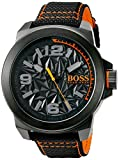 BOSS Orange Men's 'NEW YORK' Quartz Resin and Canvas Casual Watch, Color:Black (Model: 1513343)