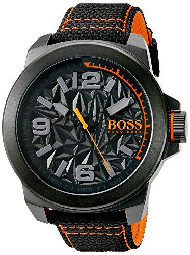 HUGO BOSS Orange Men's 'NEW YORK' Quartz Resin and Canvas Casual Watch, Color:Black (Model: 1513343) (Orange Watch Resin)
