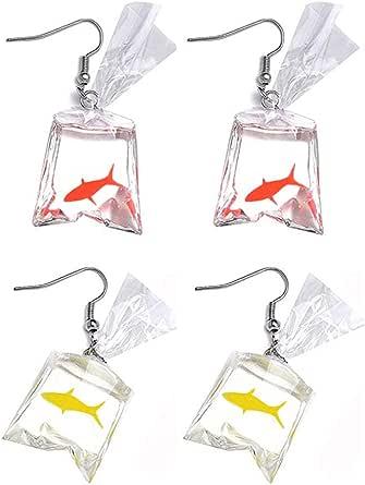 Funny Goldfish Earrings,Water Bag Shape Dangle Hook Earrings Funny Transparent Candy Bag Earrings Charm Jewelry Gift Earrings for Women Girls
