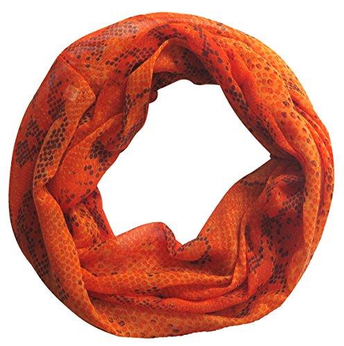 Lina & Lily Snake Print Women's Infinity Loop Scarf (Orange Red)