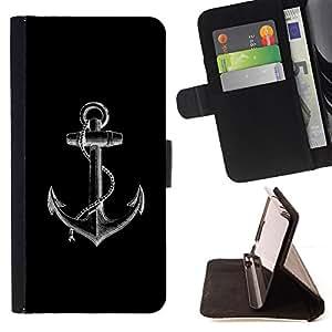 - Queen Pattern FOR Sony Xperia Z1 Compact D5503 /La identificaci????n del cr????dito ranuras para tarjetas tir????n de la caja Cartera de cuero cubie - anchor black white minimal
