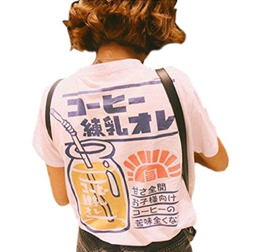 SSJ Japanese Drink Print T-Shirt Strawberry Milk MAMEPIYO rogo Color for Pink (S, ()