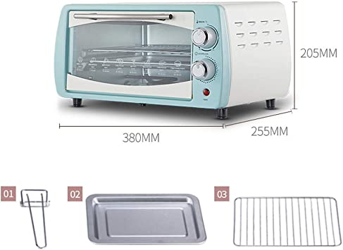 LQRYJDZ Electric oven 10L Mini Oven Adjustable Temperature 0-230℃ and 60 Minutes Timer Independent Temperature Control Household Baking Electric Oven Baking Cake and Bread Multi-function Automatic wi