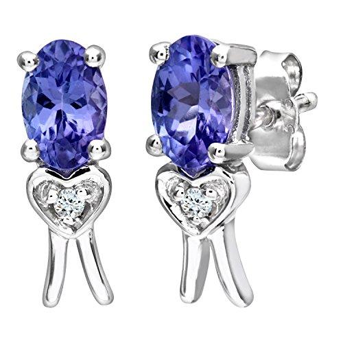 Revoni Bague en or blanc 9carats-Tanzanite Boucles d'oreilles avec diamant forme de cœur