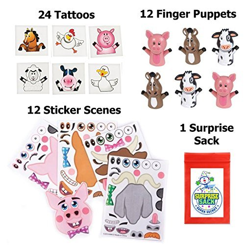 Barnyard Puppets, Tattoos, & Make-a-farm Sticker Party Favor Pack