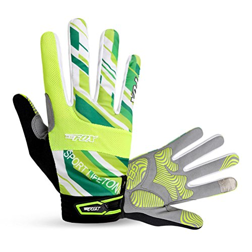 Ophelia Outdoor Unisex Cycling Mountain Bike Bicycle Road Long Full Finger Gloves(Green,XL)