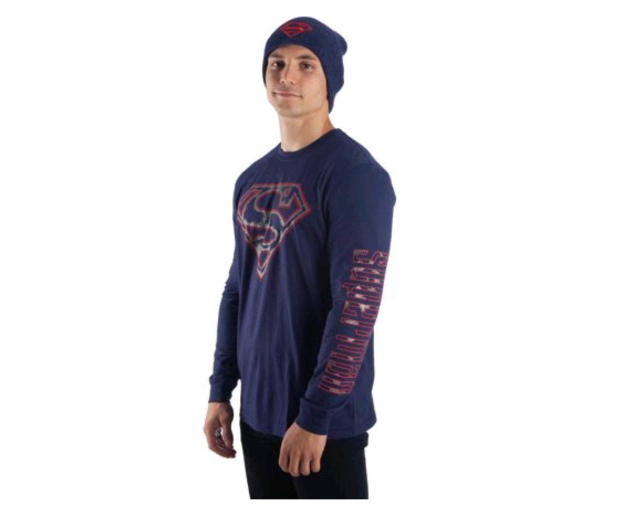 Superman Long Sleeve T-Shirt & Beanie 2 Piece Set (2XL 50/52)