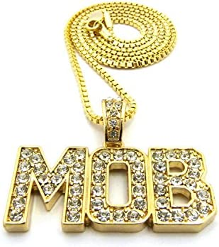 """NEW ICED OUT MOB PENDANT /& 24/"""" BOX//CUBAN//ROPE CHAIN HIP HOP NECKLACE XQP56G"""