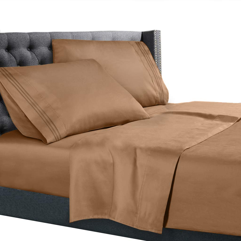 Queen Size Bed Sheets Set Mocha, Bedding Sheets Set on Amazon, 4-Piece Bed Set, Deep Pockets Fitted Sheet, 100% Luxury Soft Microfiber, Hypoallergenic, Cool & Breathable